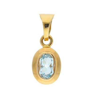 Przywieszka z żółtego złota z topazem błękitnym