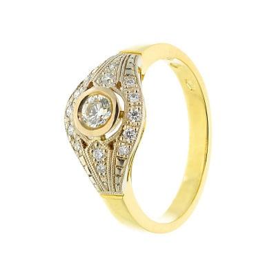 Pierścionek złoty z brylantami  0,36 ct