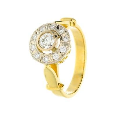 Pierścionek złoty z  brylantami  0,48 ct