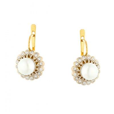 Kolczyki złote z perłami i brylantami 0,278 ct