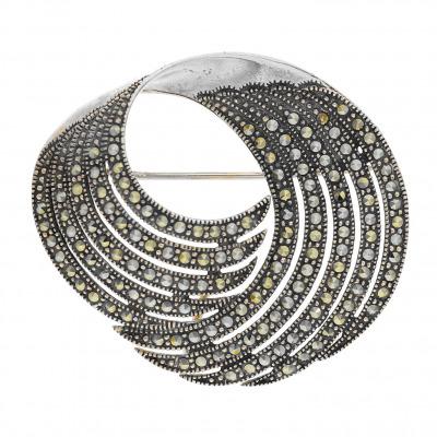 A&A srebrna broszka-przywieszka z markazytami