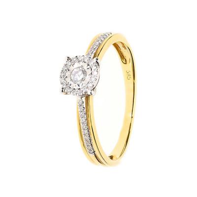 Pierścionek złoty z diamentami