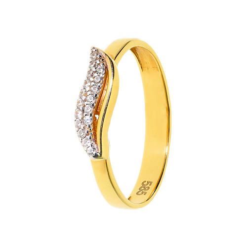 Pierścionek złoty z cyrkonami