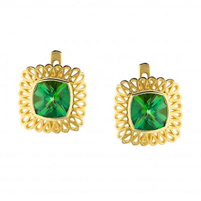 Kolczyki złote z zielonymi topazami