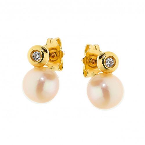 Kolczyki z żółtego złota z perłami i cyrkoniami
