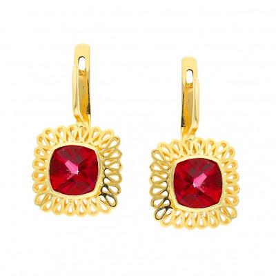 Kolczyki złote z czerwonymi topazami