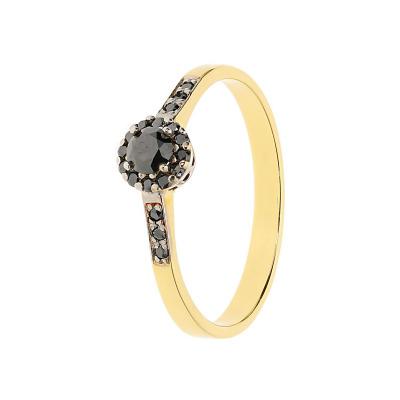 Pierścionek złoty z czarnymi brylantami