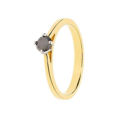 Pierścionek złoty z czarnym brylantem