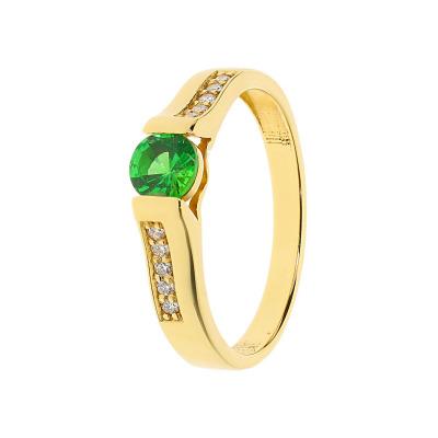 Pierścionek złoty z tsavorytem i diamentami