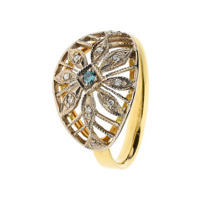 Pierścionek złoty z brylantami i tanzanitem