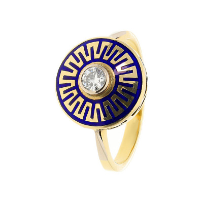 Pierścionek złoty z brylantem i emalią