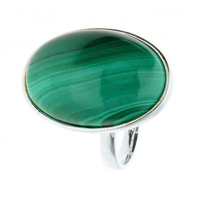 Pierścionek srebrny z malachitem
