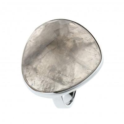 Pierścionek srebrny z kwarcem szarym