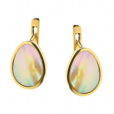 Kolczyki złote z masą perłową