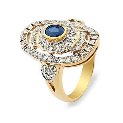 Pierścionek złoty z brylantami i szafirem
