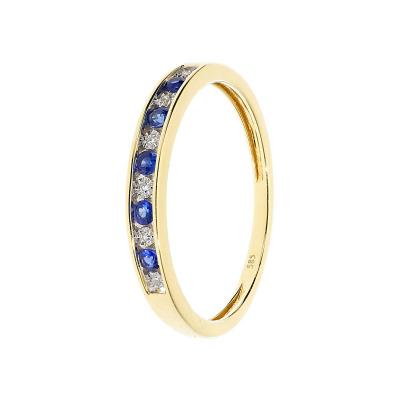 Pierścionek złoty z diamentami i szafirami