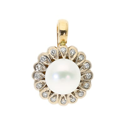 Przywieszka złota z perłą i brylantami 0,14ct