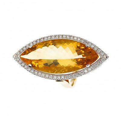 Pierścionek złoty z cytrynem i brylantami