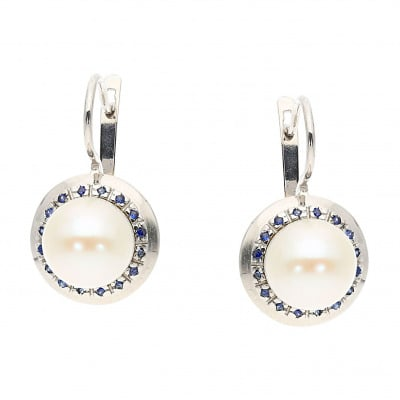 Kolczyki złote z perłami i szafirami