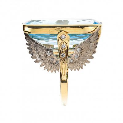 Pierścionek złoty z topazem i brylantami