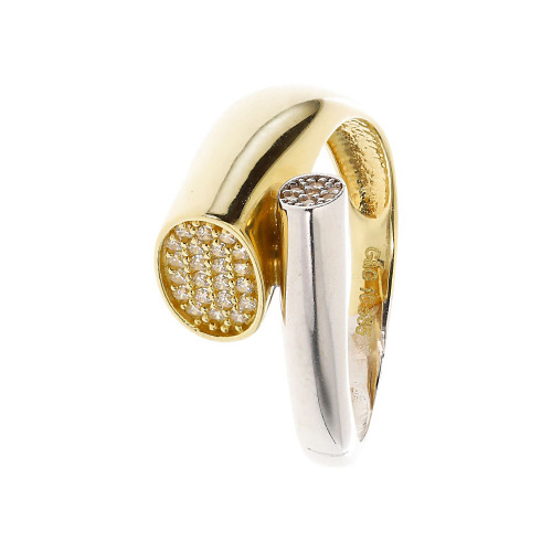 Pierścionek z dwukolorowego złota z cyrkoniami