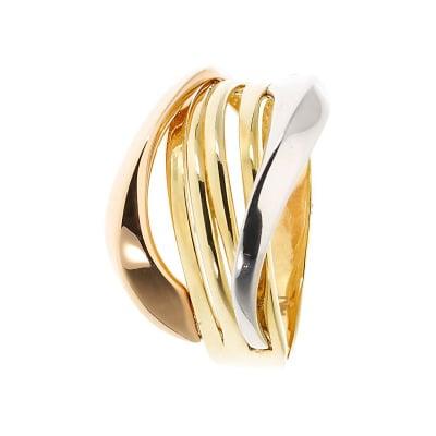 Pierścionek z trzykolorowego złota