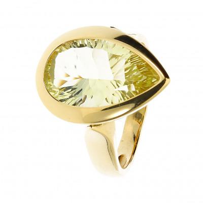 Pierścionek złoty z cytrynem