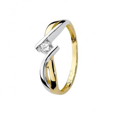 Pierścionek z dwukolorowego złota z brylantem