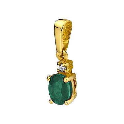 Przywieszka złota ze szmaragdem i brylantem