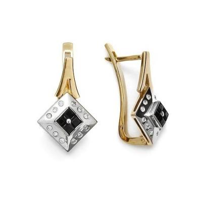 Kolczyki złote z szafirami 0,60 ct. i brylantami 0,16 ct. Vs/H
