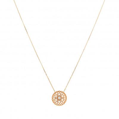 Naszyjnik złoty z diamentami 0,04 ct Si/H