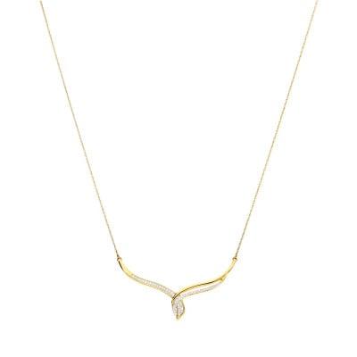 Naszyjnik złoty z diamentami 0,14 ct Si/H
