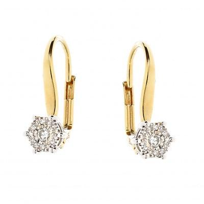 Kolczyki złote z diamentami 0,14 ct. Si/H