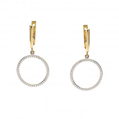 Kolczyki złote z diamentami 0,32 ct Si/H
