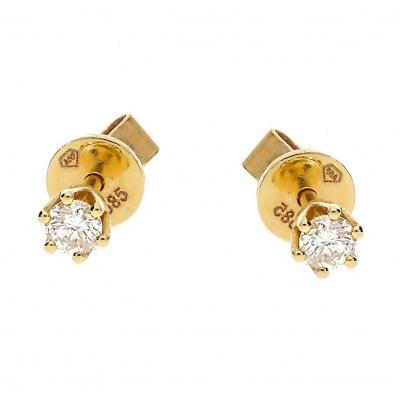 Kolczyki złote z brylantami 0,15 ct Si/H