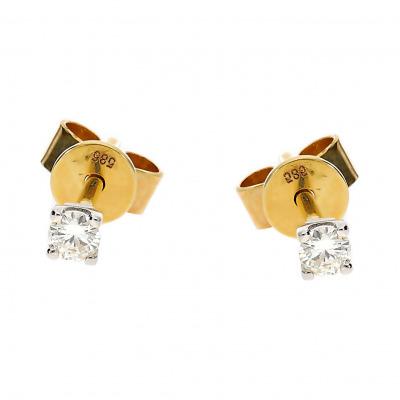 Kolczyki złote z brylantami 0,10 ct Si/H