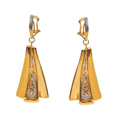 kolczyki z trzykolorowego złota