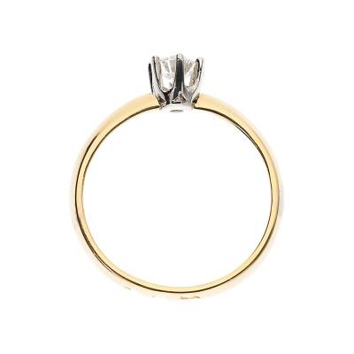 Pierścionek złoty z brylantem 0,32 ct