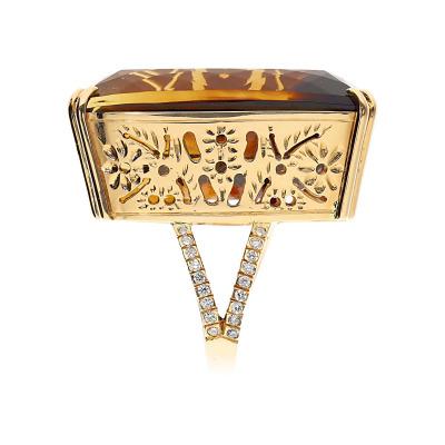 Pierścionek złoty z ametrynem 72,42 ct i brylantami 0,45 ct Vs/G