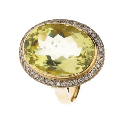 Pierścionek złoty z cytrynem 12,32 ct i brylantami 0,33 ct Si/H