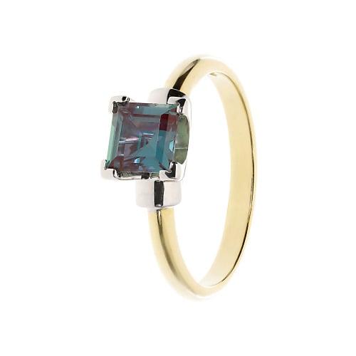 Pierścionek złoty z aleksandrytem syntetycznym