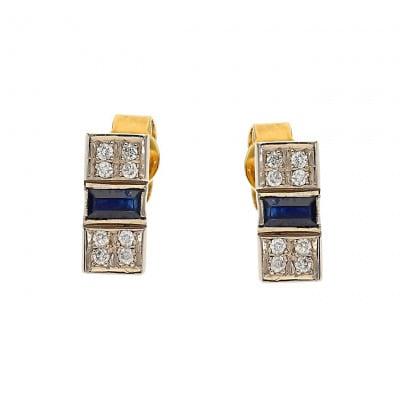 Kolczyki złote z szafirami i brylantami