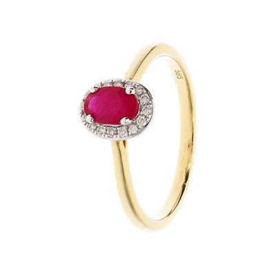 Pierścionek złoty z rubinem i brylantami