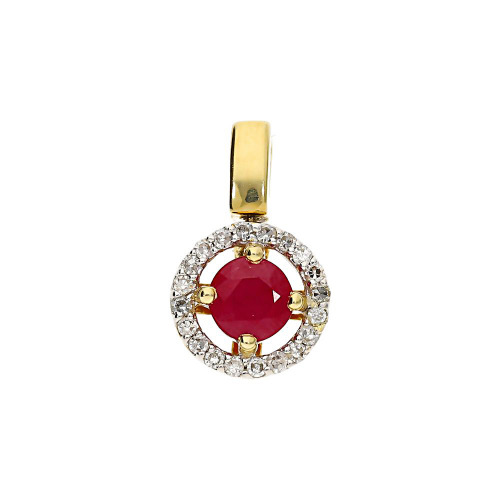 Przywieszka złota z rubinem 0,80 ct i diamentami 0,10 ct. Si/H, I