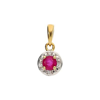 Przywieszka złota z rubinem 0,18 ct i diamentami 0,01 ct. Si/H