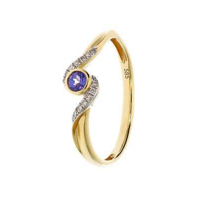Pierścionek złoty z tanzanitem i brylantami