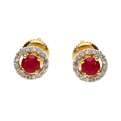 Kolczyki złote z rubinami 0,70 ct i diamentami 0,18 ct Si/H, I