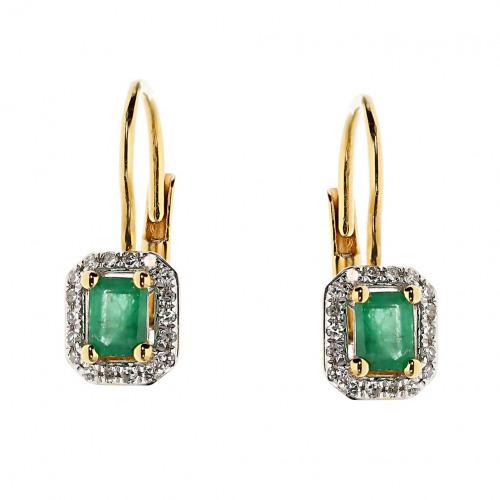 Kolczyki złote ze szmaragdami 0,38 ct i diamentami 0,09 ct Si/H