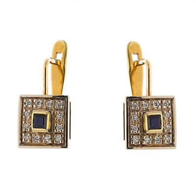 Kolczyki złote z szafirami 0,27 ct. i brylantami 0,16 ct. Vs/H