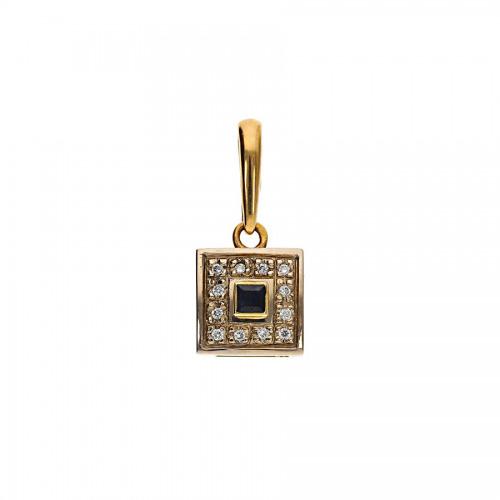 Przywieszka złota z szafirem 0,15 ct. i brylantami 0,08 ct. Vs/H